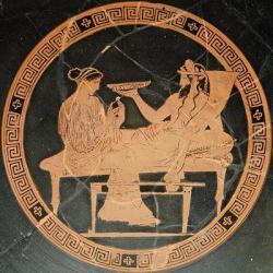 Perséphone chez Hadès (médaillon d'un kylix attique), vers 440 -430 av. J.C., British Museum