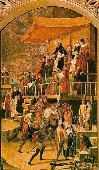 Saint dominique presidant un auto da fe pedreo berruguete l inquisition legende noire espagnole